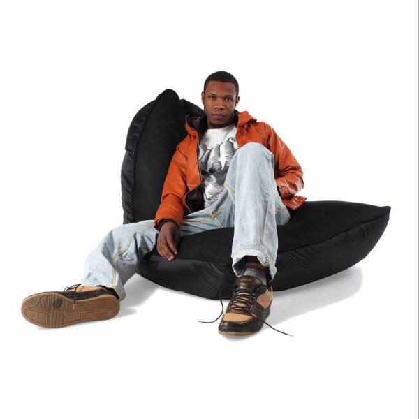 Air mesh bean bag in Gangsta Black 3/4 view with model