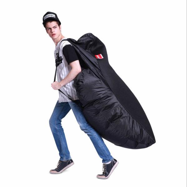 Air mesh bean bag in Gangsta Black carried side