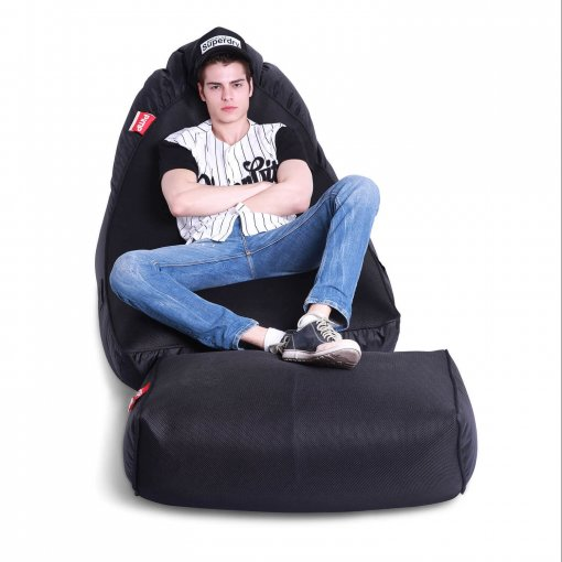 Air mesh bean bag in Gangsta Black front view with model 2