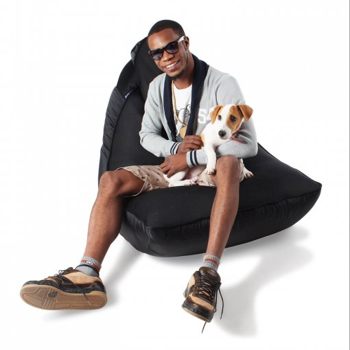 Air mesh bean bag in Gangsta Black front view with model