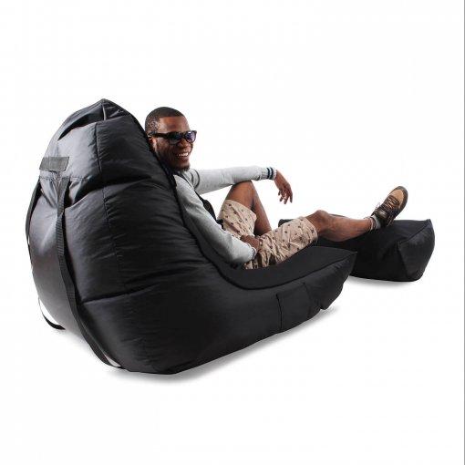 Air mesh bean bag in Gangsta Black rear view with model