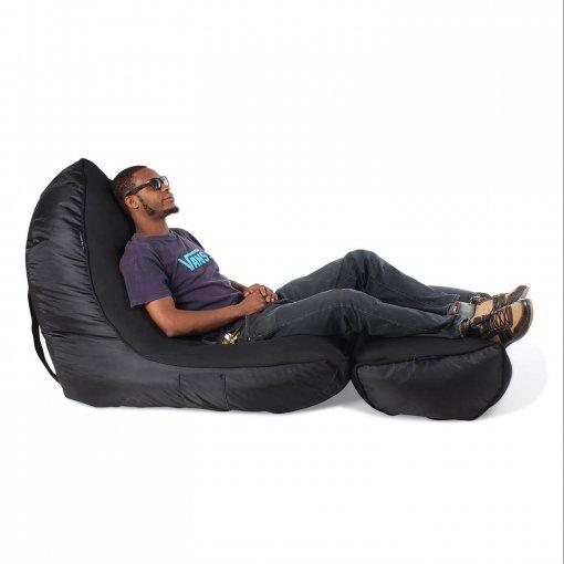 Air mesh bean bag in Gangsta Black side view with model