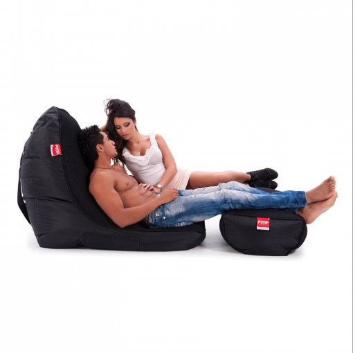 Air mesh bean bag in Gangsta Black side view with two models