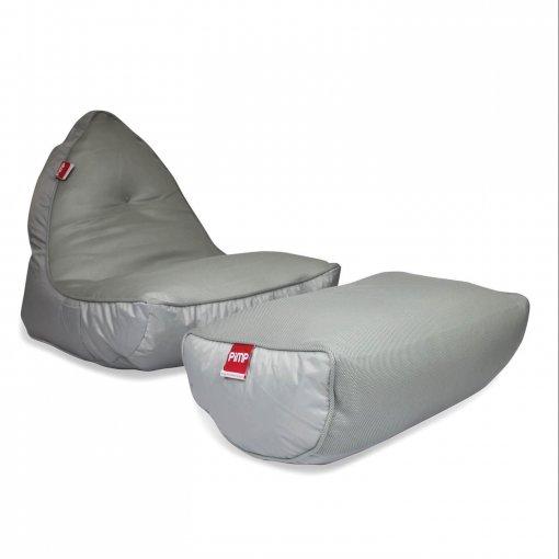 Air mesh bean bag set in shady grey front 34 shot
