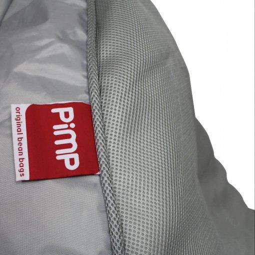 Air mesh bean bag set in shady grey pimp logo closeup