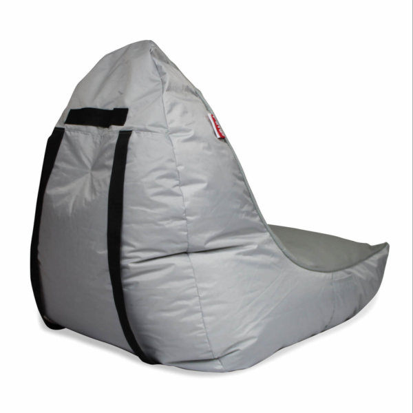 Air mesh bean bag set in shady grey rear 3/4 shot