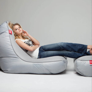 Air mesh bean bag set in shady grey rear side shot with model