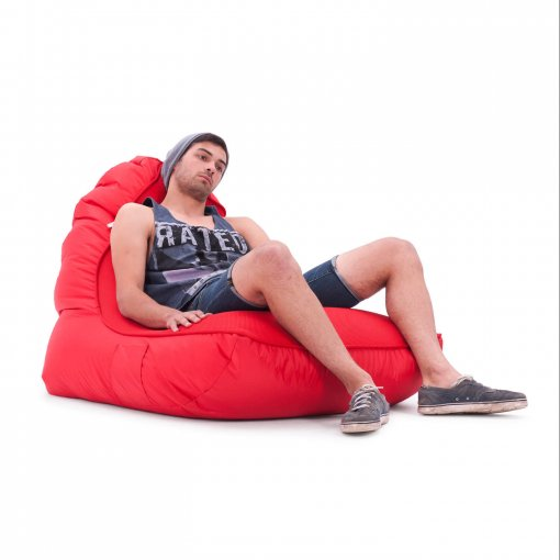Air mesh bean bag in street cred red low angle with model