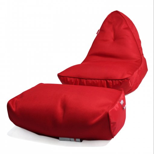 Air mesh bean bag in street cred red front angle with model