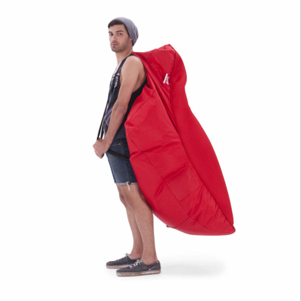 Air mesh bean bag in street cred red carried side view