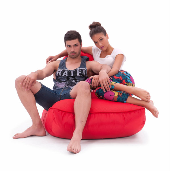 Air mesh bean bag in street cred red carried front view with two models