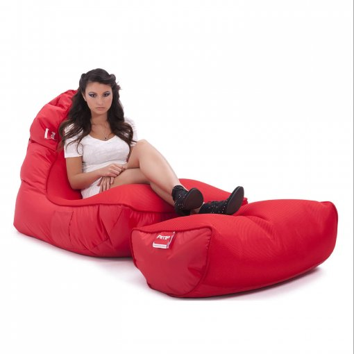 Air mesh bean bag in street cred red carried front 34 view with model