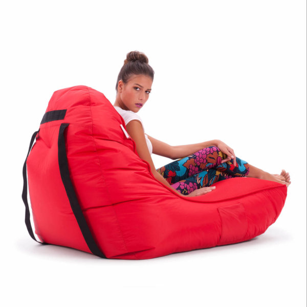 Air mesh bean bag in street cred red rear 34 view with model