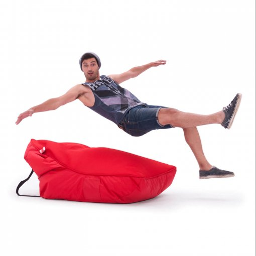 Air mesh bean bag in street cred red with model jumping