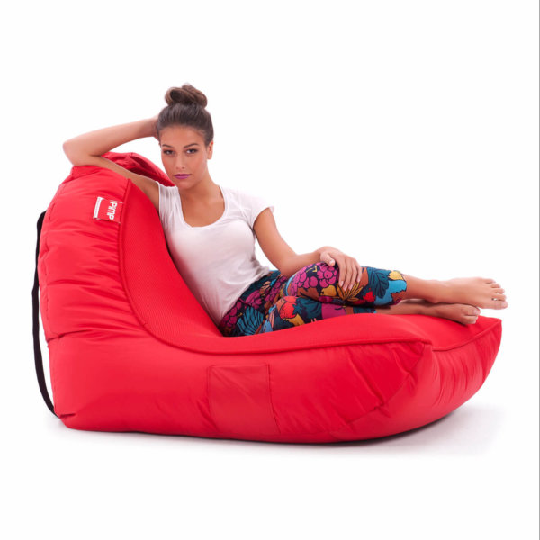 Air mesh bean bag in street cred red side view