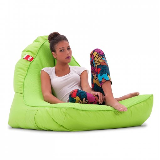 Air Mesh bean bag set in wild lime 34 view with model