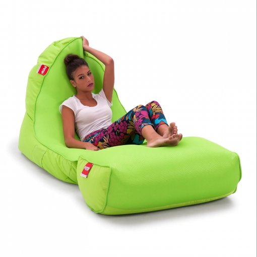 Air Mesh bean bag set in wild lime with model