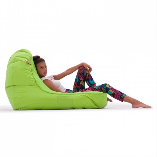 Air Mesh bean bag set in wild lime side view with model