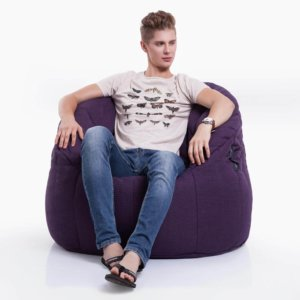 aubergine dream butterfly bean bag with model on front view
