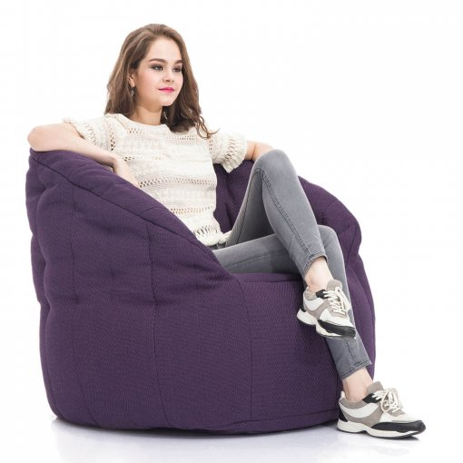 aubergine dream butterfly bean bag with girl model