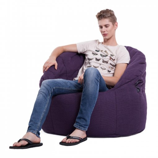 aubergine dream butterfly bean bag with model on side view