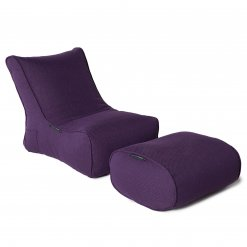 aubergine dream evolution lounger bean bag with ottoman