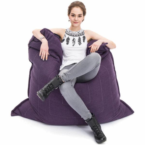 aubergine dream zen lounger bean bag with model