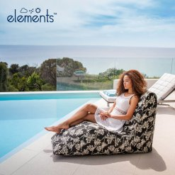 night bloom floral black outdoor bean bag lounger