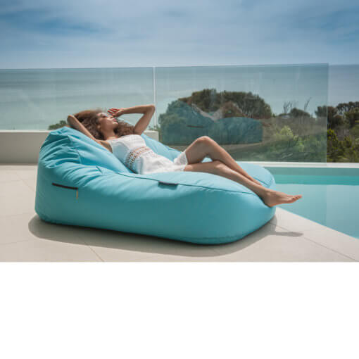 azurri blue satellite twin sofa bean bag outdoor shot 2