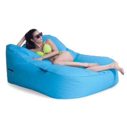 azurri blue satellite twin sofa bean bag with model