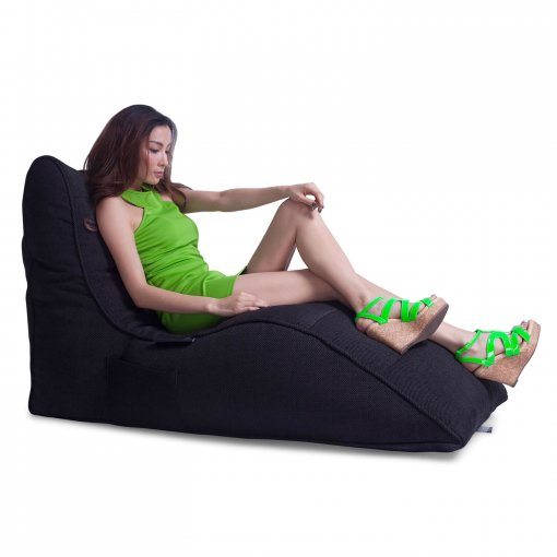 black sapphire avatar lounger bean bag side view with model