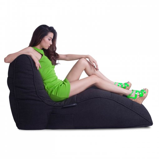 black sapphire avatar lounger bean bag with model