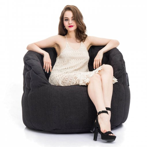 black sapphire butterfly bean bag with model on front view