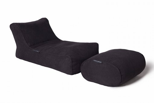 black sapphire studio lounger bean bag with ottoman