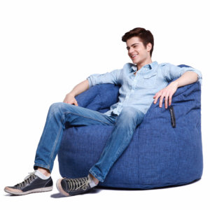 blue jazz butterfly bean bag with model on side view