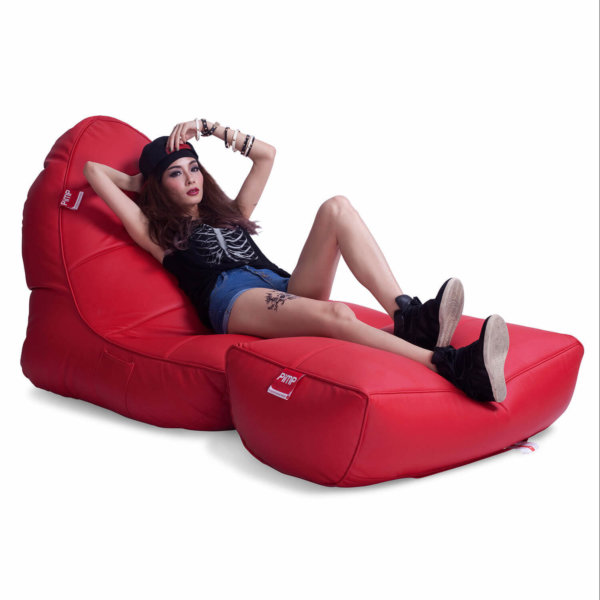 Bonded PU Leather bean bag set in totally well red 34 view with model