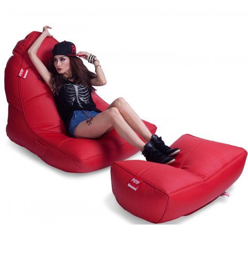 Bonded PU Leather bean bag set in totally well red