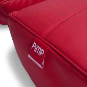 Bonded PU Leather bean bag set in totally well red logo closeup