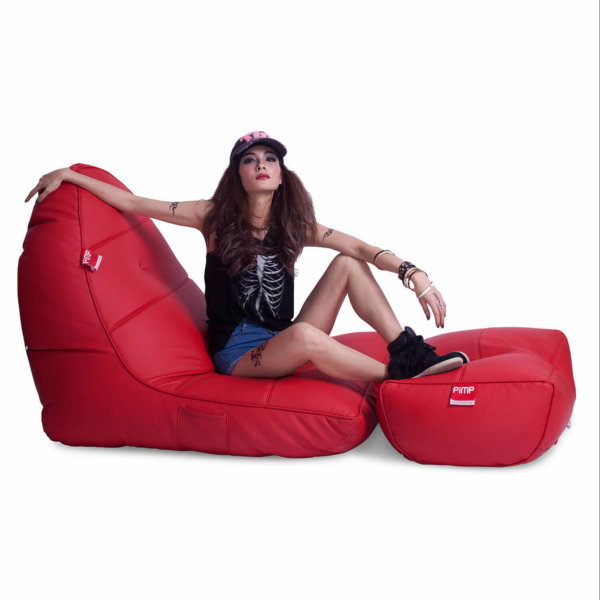 Bonded PU Leather bean bag set in totally well red side view 2