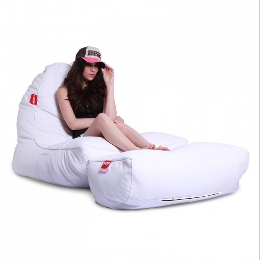 Bonded PU bean bag set in white boyz color front 3/4 view 2