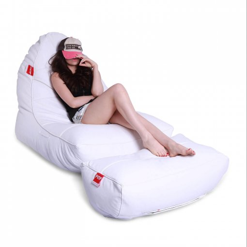 Bonded PU bean bag set in white boyz color main photo