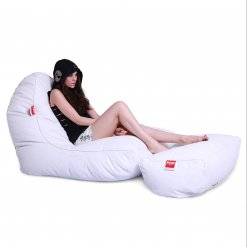 Bonded PU bean bag set in white boyz colour side view 3