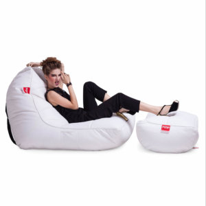 Bonded PU bean bag set in white boyz colour side view 2