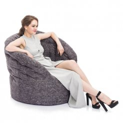 Butterfly bean bag sofa in Luscious Grey with model