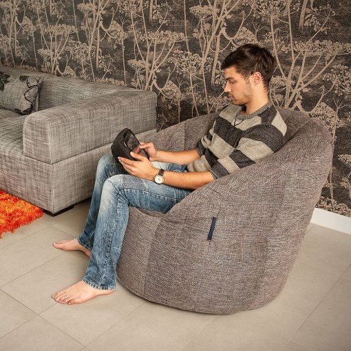 Butterfly bean bag sofa in Luscious Grey with model 2