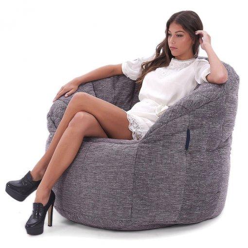 Butterfly bean bag sofa in Luscious Grey