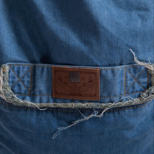 Denim Jeanious bean bag set brand closeup