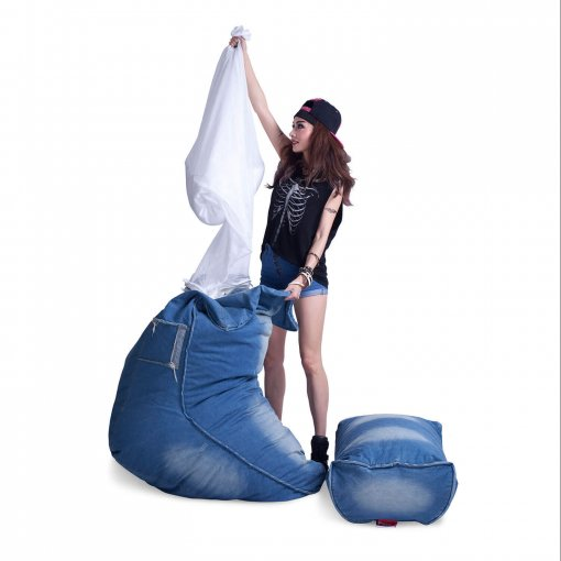 Denim Jeanious bean bag set being filled