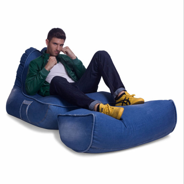 Denim Jeanious bean bag set front 3/4 view with model