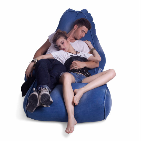 Denim Jeanious bean bag set front view with two models